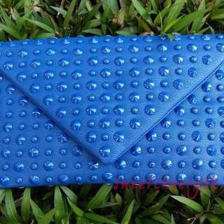 Eletric Blue Studded Clutch Bag