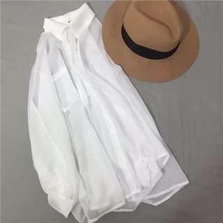 韓國新款女裝寬松百搭雪紡衫開衫外搭外套女蝙蝠袖防曬衣上衣女