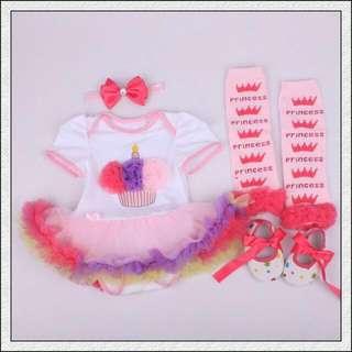 (Nett Price) Colourful Cupcake Tutu Romper 4pcs Set