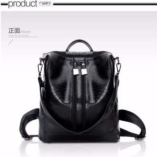 Women girl The New Double Shoulder Bag Backpack(Black)