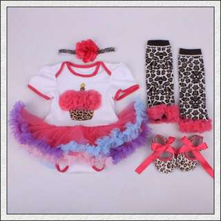 (Nett Price) Pink Cupcake Tutu Romper 4pcs Set
