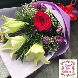 """Your love gives me strength"" Madlily, Imported Rose, Baby Breath Designer Bouquet w/ FREE Surprise DELIVERY"