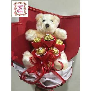 """You're beary sweet"" 6 Stalk Ferrero Rocher Designer Bouquet with Teddy Bear + Free surprise delivery"