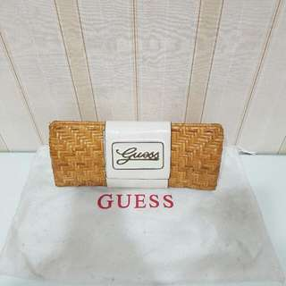 Guess Rattan White Leather Clutch ORI