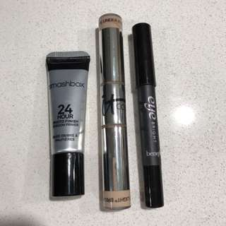It Cosmetics Bye Bye Under Eye Concealer, Benefit Eye Bright, Smashbox Shadow Primer