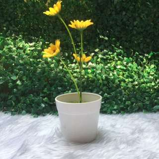 Artificial Sunflower with Pot and Soil