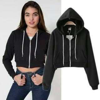 jacket hoody croop wanita / zipper