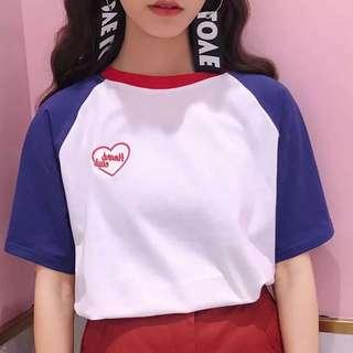 原宿少女💗愛心刺繡棒球上衣兩色