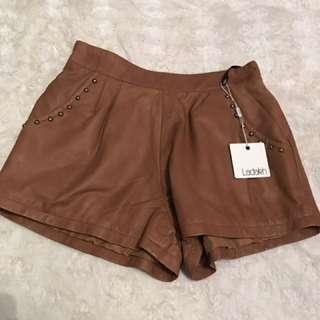 Ladakh High Waisted Leather Shorts