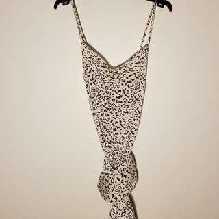 White Leopard Print Maxi Dress, Size M