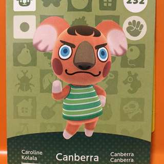 Animal Crossing Amiibo Card #232 Canberra