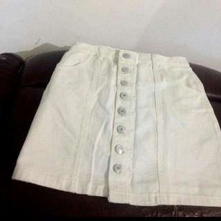 Button Down Skirt (white)