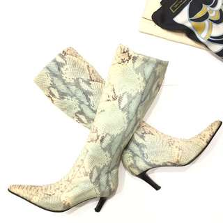 Max de Carlo Knee High Snakeskin PatternBoots