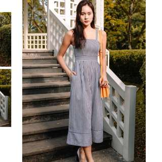 Fashmob Linen Jumpsuit In navy