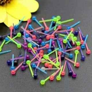 Colourful Plastic Rounded Head Ear Sticks