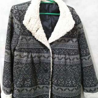 Dark Patterned Chic Coat From Japan