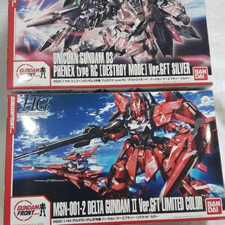 HGUC DELTA GUNDAM II VER GFT & UNICORN GUNDAM 03 PHENEX TYPE RC VER GFT MODEL KITS