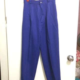 Designer Pants -royal Blue High Waist Tapered Pants