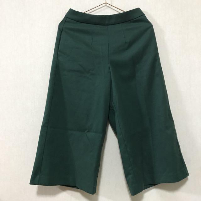 正韓綠色寬褲