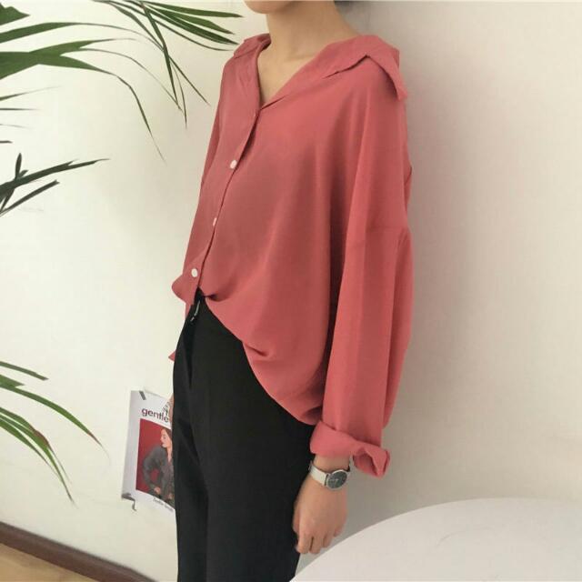 純色慵懶風翻領簡約襯衫
