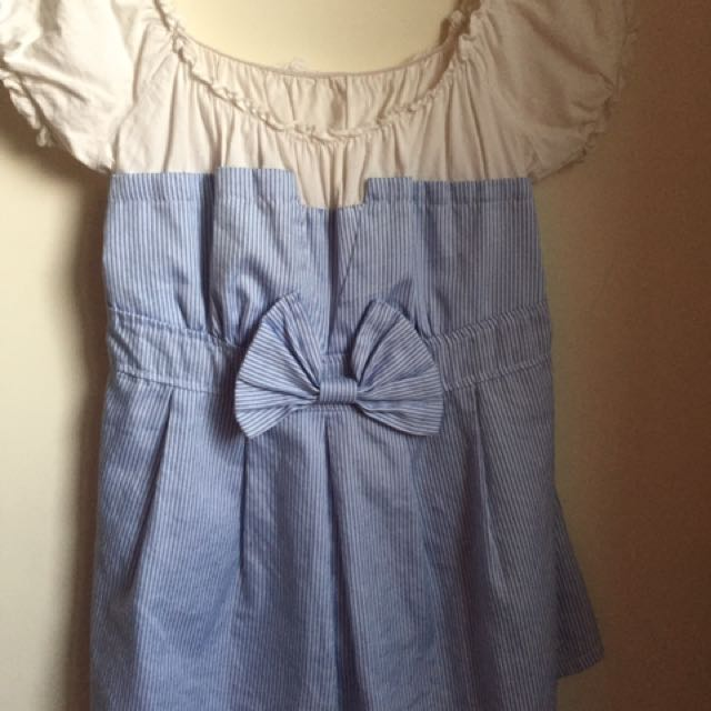 可愛軟妹條紋娃娃裝上衣(也可一字領