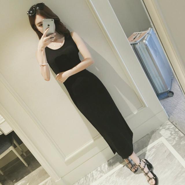 全新✨側開衩黑色無袖連身裙
