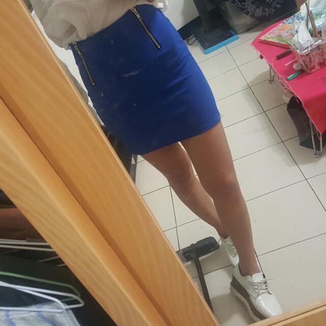 韓*寶藍色窄 包臀裙