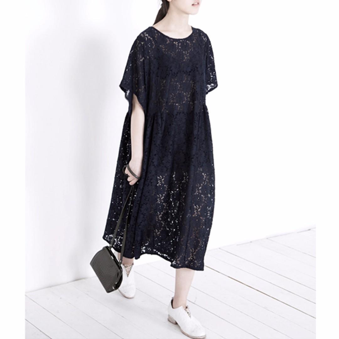 韓國新款 滿版蕾絲質感寬鬆洋裝 全新