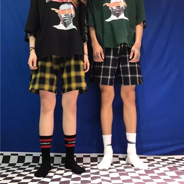 熱銷 人手一件 百搭 韓國復古 格子短褲