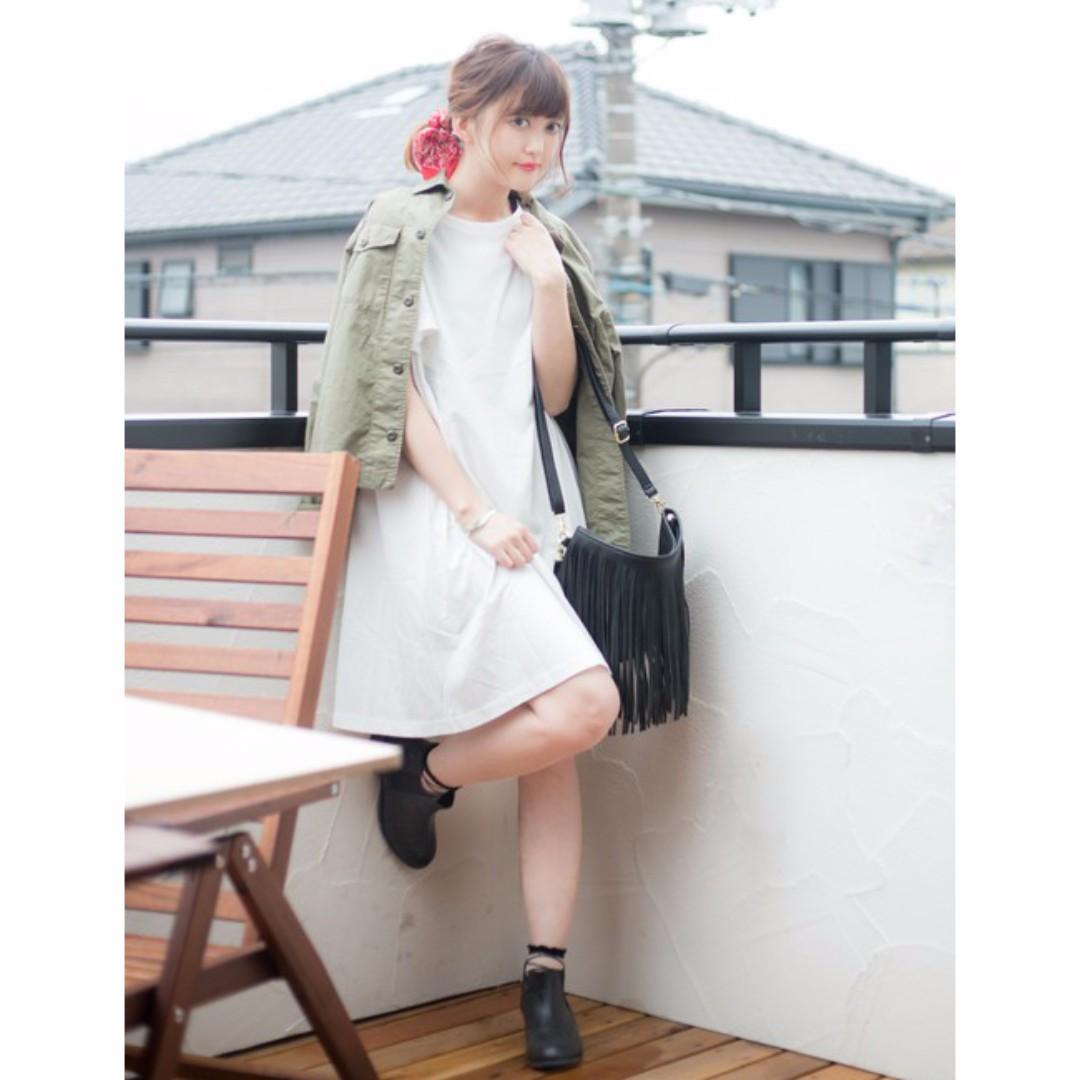 日本購入 Lowrys Farm波浪袖洋裝 8成新