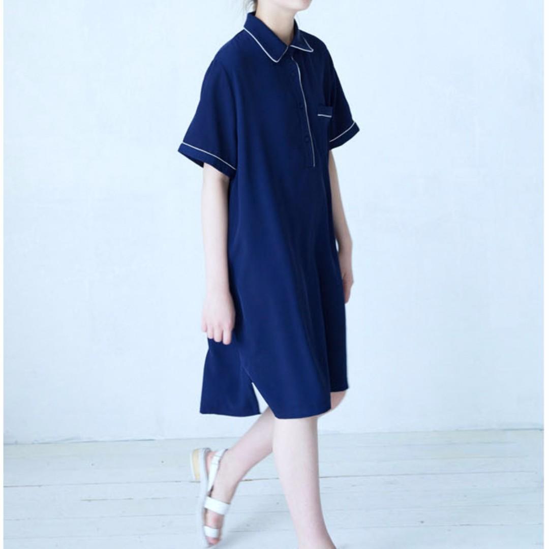 韓國 時髦睡衣風滾邊POLO領洋裝