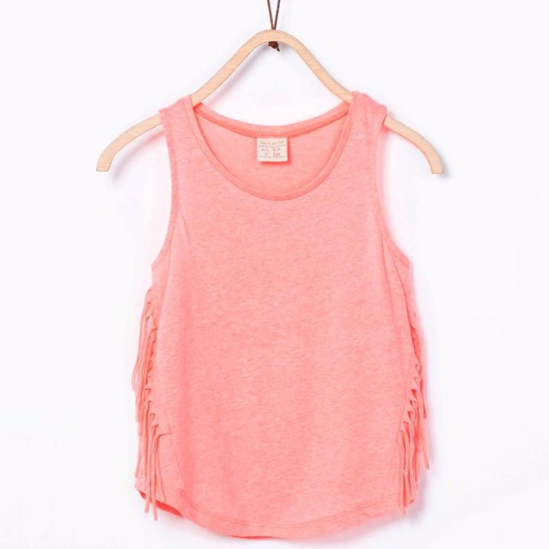 💟 Zara Girl Orange Pink Side Fringe Singlet