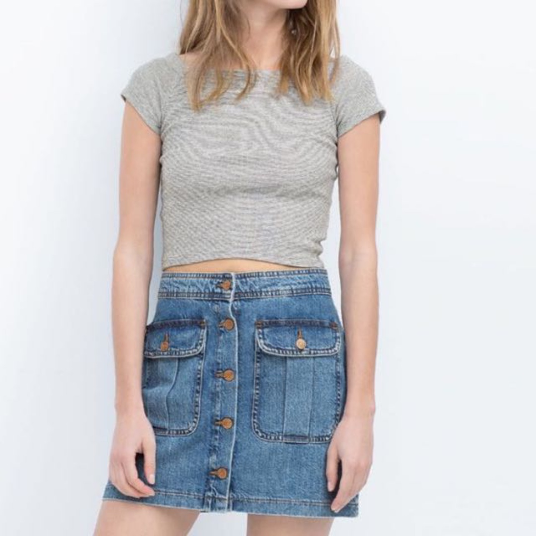 💟 Zara TRF Off Shoulder Grey Crop Top