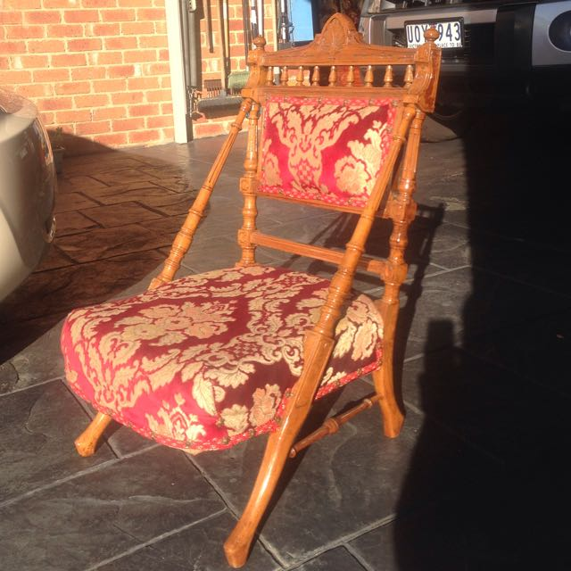 Antique Chair 130 Years Old Red