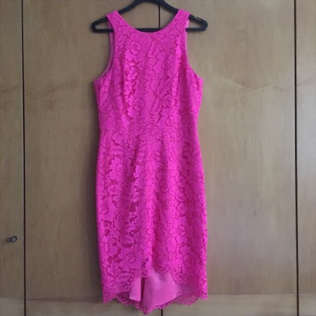Aus10 Forever New Neon Pink Lace Dress Womens Fashion