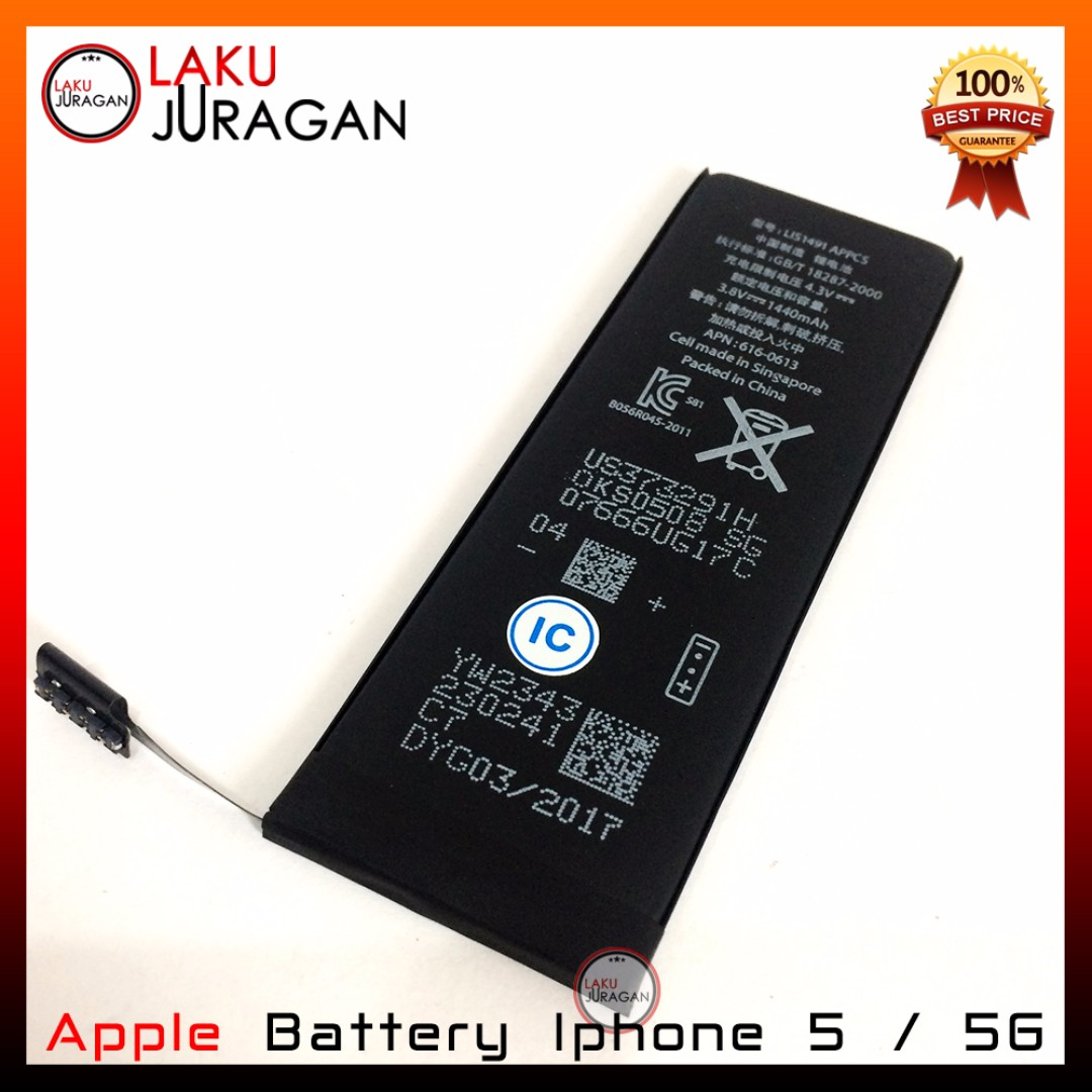 Baterai Iphone 5 & 5G Apple Original (Batre, Batrai, Battery), Elektronik, Aksesoris Tablet & Handphone di Carousell