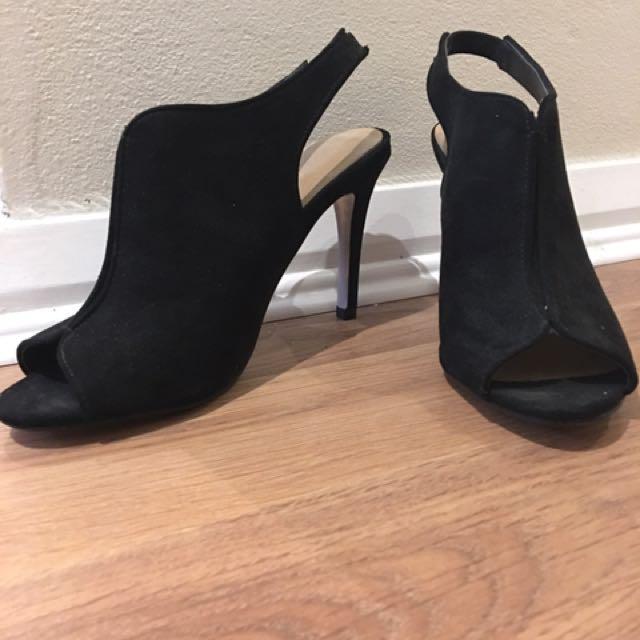 Black Open Toe Cut Out Heels