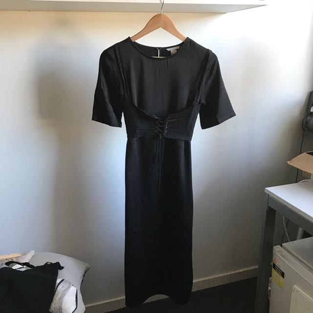 Black Silk Look Midi T-shirt Dress