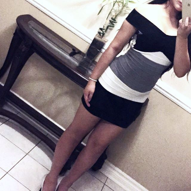 Black White & Grey Bodycon Dress