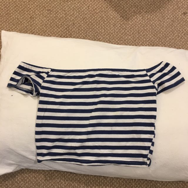 """Blue & white striped off the shoulder top- Brand is """"mink pink"""" size 8"""