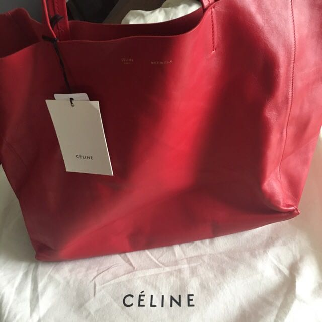 Celine Large Red Cabas Tote