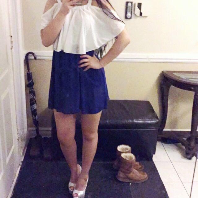 Cold shoulder White & Blue Dress
