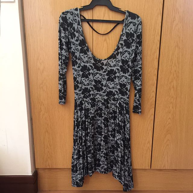 Cotton On Grey And Black Dress With Low Back