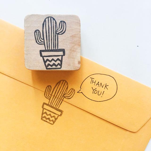 Cute Cactus Handmade Rubber Stamp Design Craft Supplies