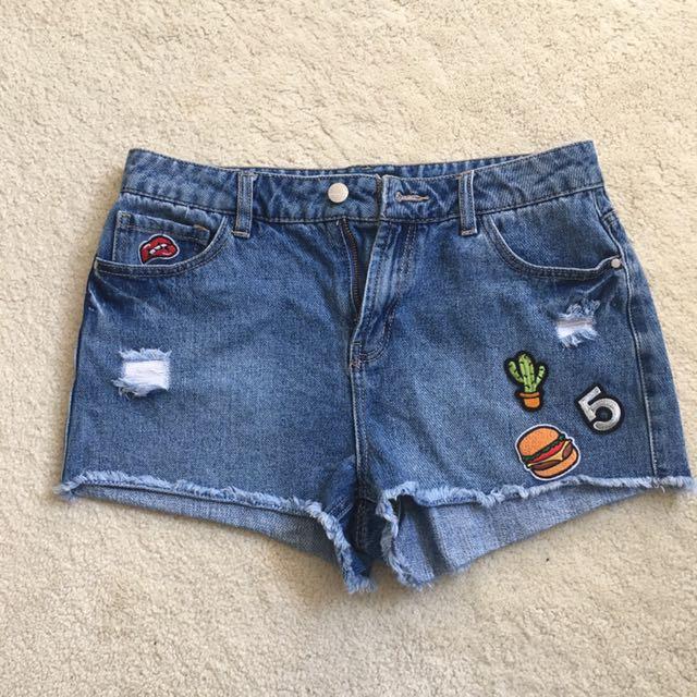 Denim Shorts Cute Burger Cactus And Lip