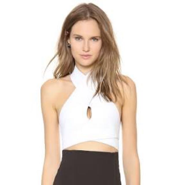 DION LEE Women's White Intersection Crop Top