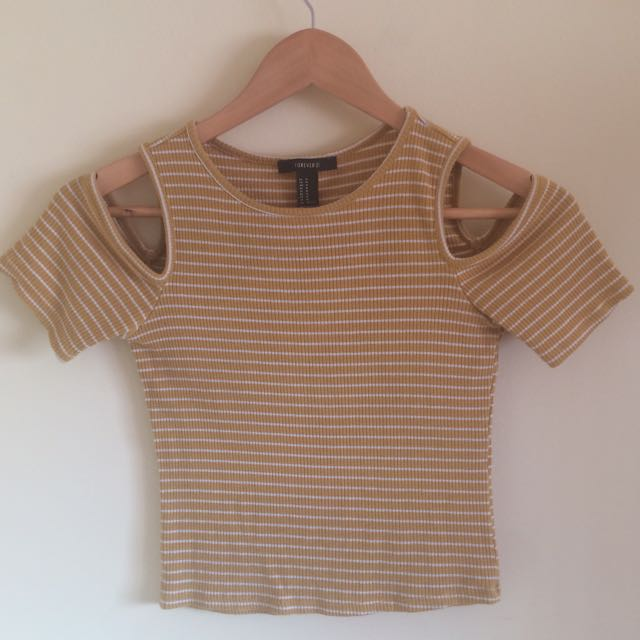 F21 COLD SHOULDER RIBBED STRIPED YELLOW TOP