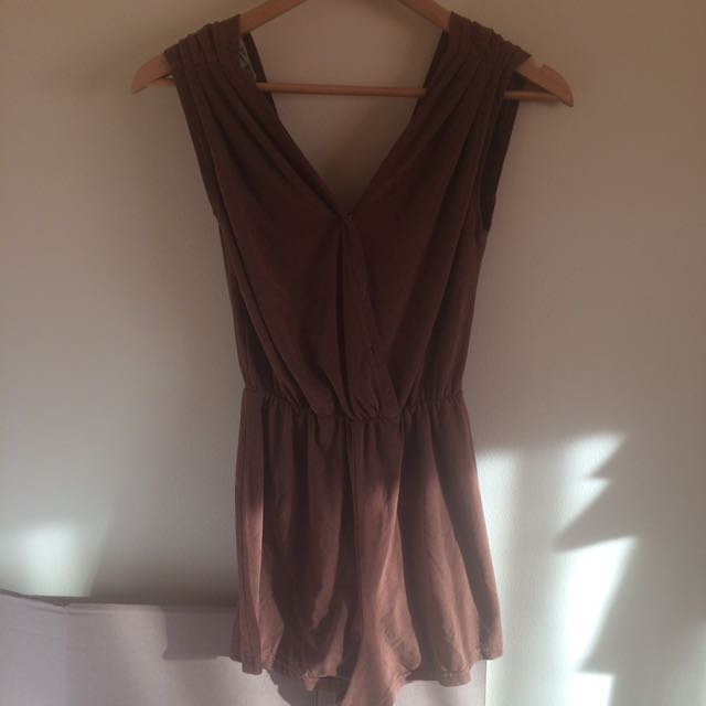 FAUX SUEDE BROWN LOW BACK ROMPER