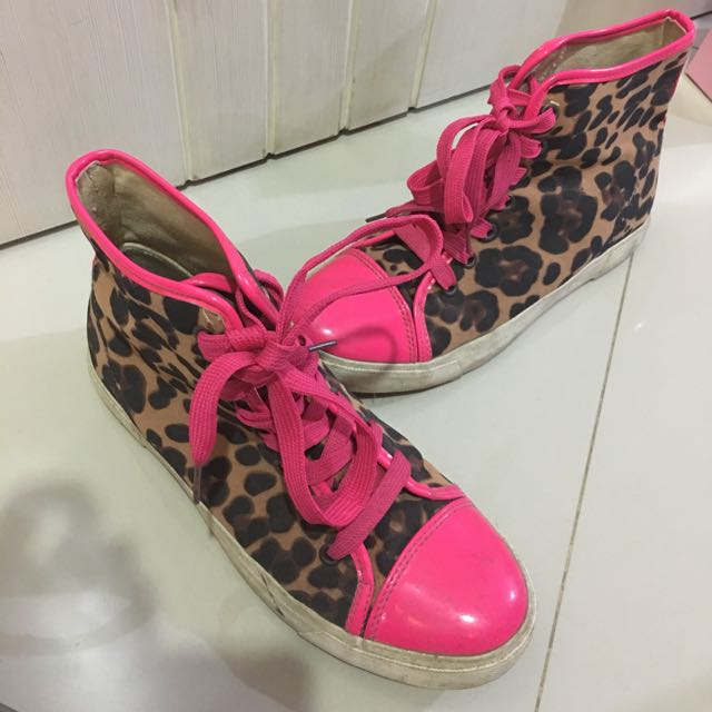 Forever 21 Neon Pink Leopard Sneakers