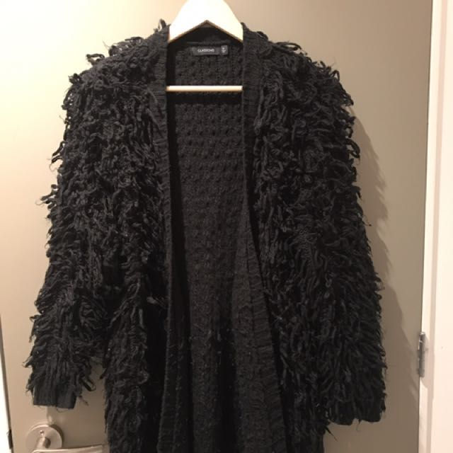 Glassons Black Shaggy Knit Cardi